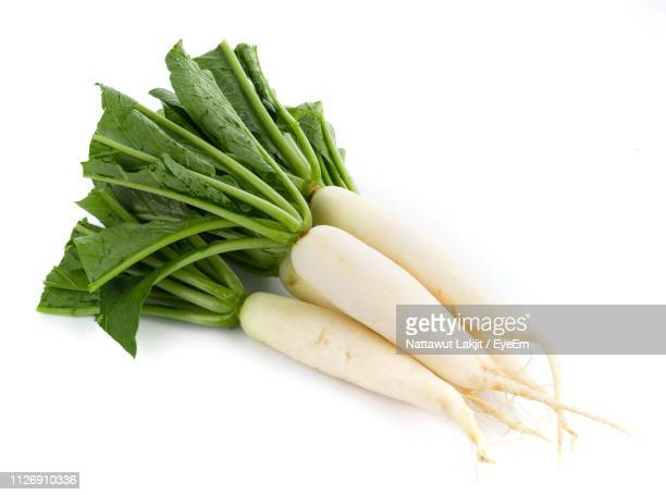 close-up of dikon radish over white background - dikon radish stock photos and pictures