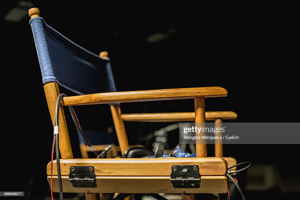 Close-Up Of Director Chair : Stock Photo