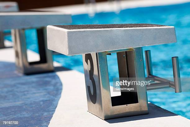 Close-up of diving platforms in a swimming pool