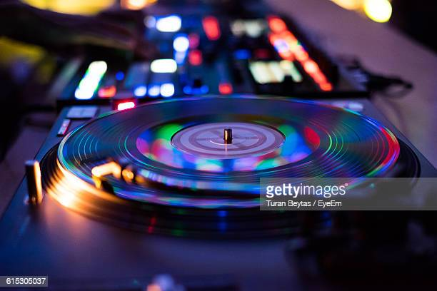 close-up of dj turntable at nightclub - deck stock pictures, royalty-free photos & images