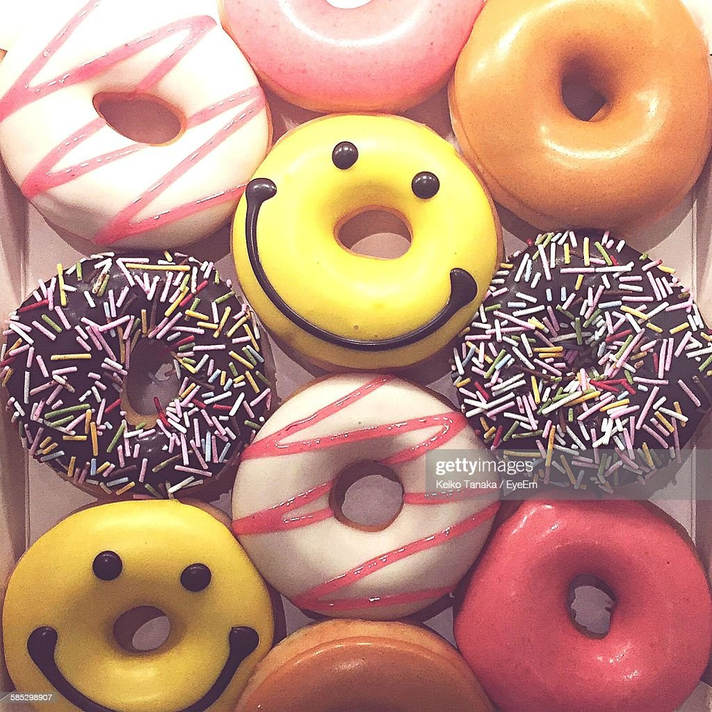 Close-Up Of Donuts In Container : Stock Photo