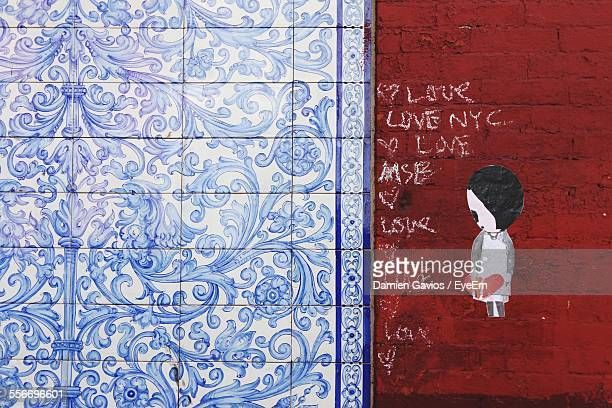 Close-Up Of Drawings On Wall