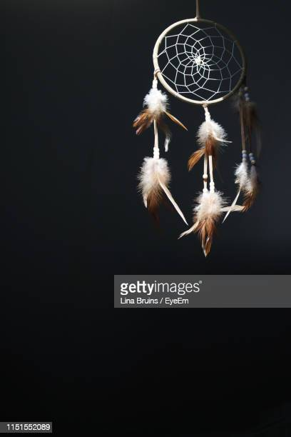 close-up of dreamcatcher hanging - dreamcatcher stock pictures, royalty-free photos & images