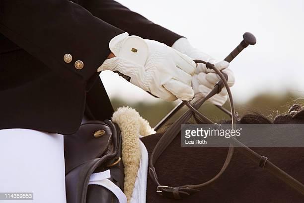 close-up of dressage horse with rider - 馬術大会 ストックフォトと画像