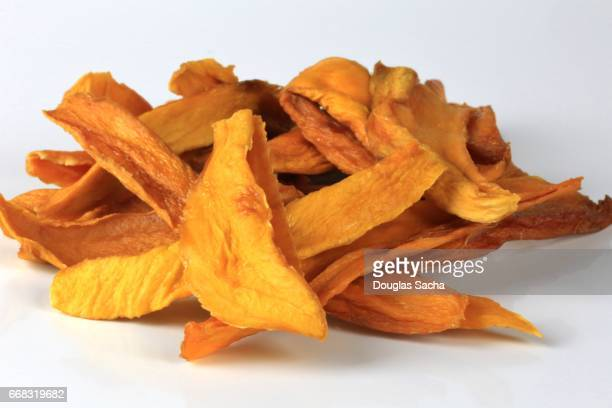 Close-up of Dried Mango Chips (Mangifera indica)