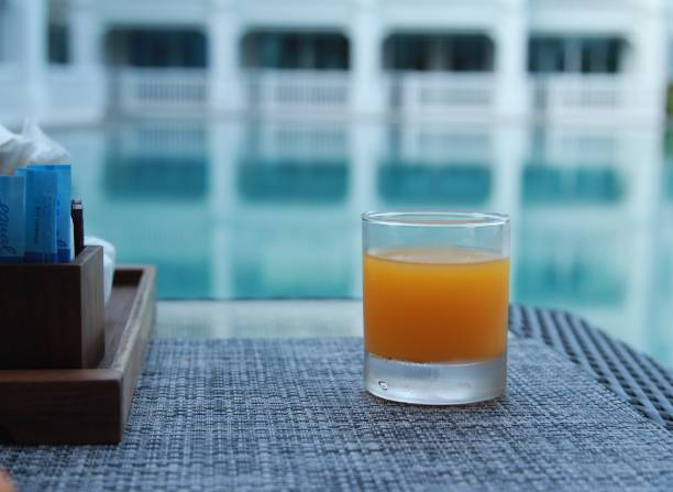 Close-Up Of Drink On Table By Swimming Pool
