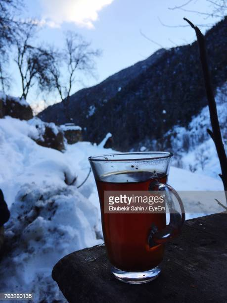 Close-Up Of Drink On Table During Winter