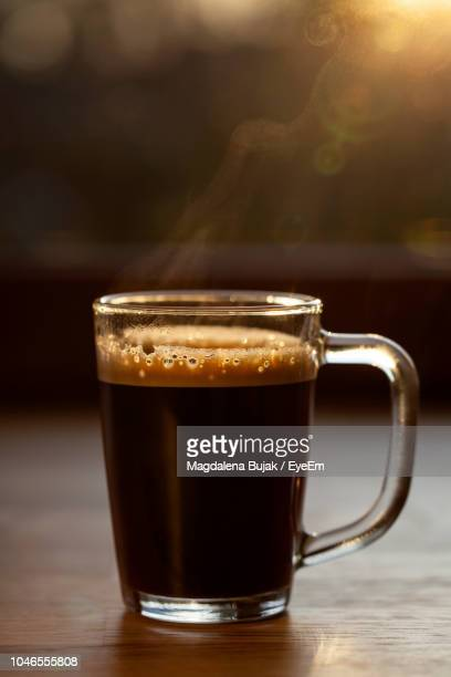 close-up of drink on table - black coffee stock pictures, royalty-free photos & images