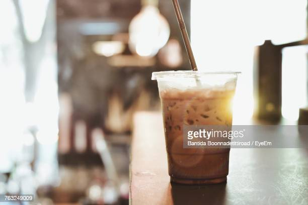 close-up of drink on table - iced coffee stock pictures, royalty-free photos & images