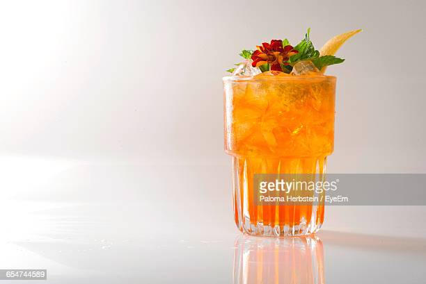 Close-Up Of Drink Over Black Background