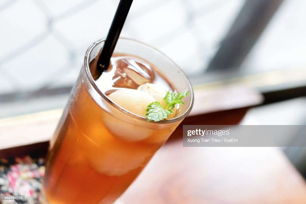 Close-Up Of Drink Served On Table : Stock Photo