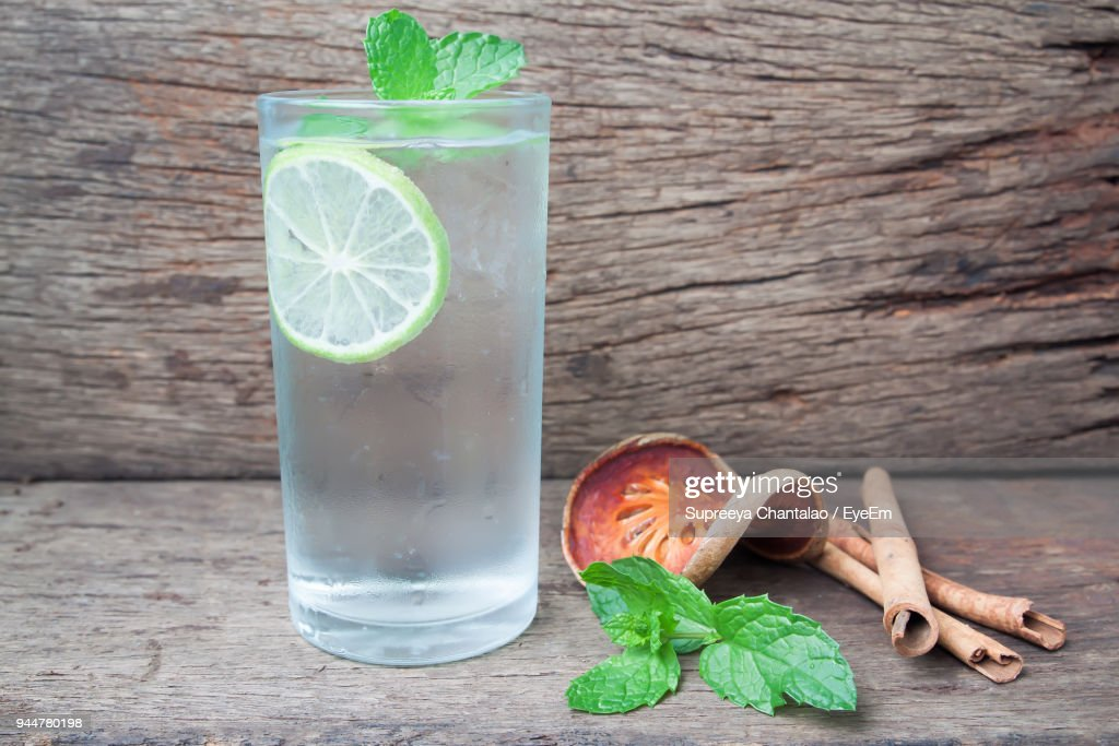 Close-Up Of Drink With Ingredient On Table : Stock Photo