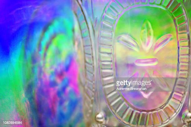 Close-up of Drinking Glass With Fleur de Lis Design