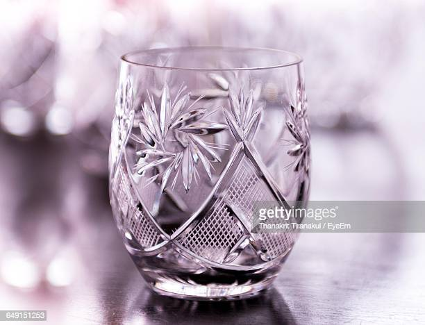 close-up of drinking glass with floral pattern - 美術工芸 ストックフォトと画像