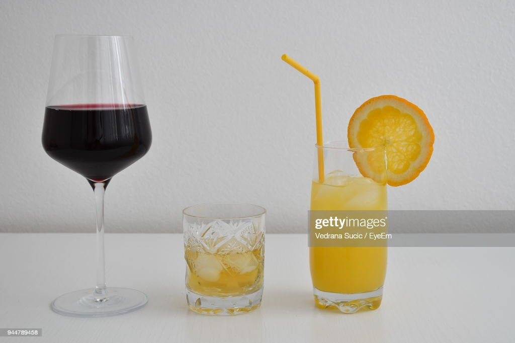 Close-Up Of Drinks Over White Background : Stock Photo