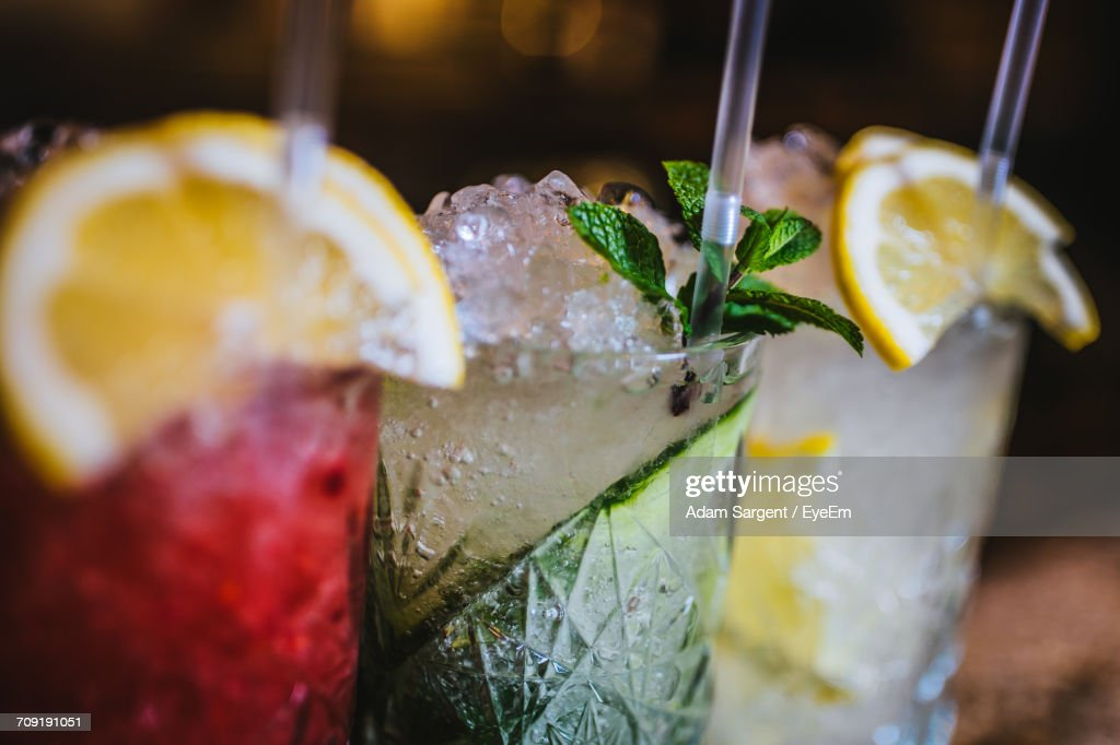 Close-Up Of Drinks : Stock Photo