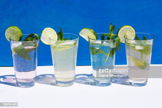 Close-Up Of Drinks Served At Swimming Pool