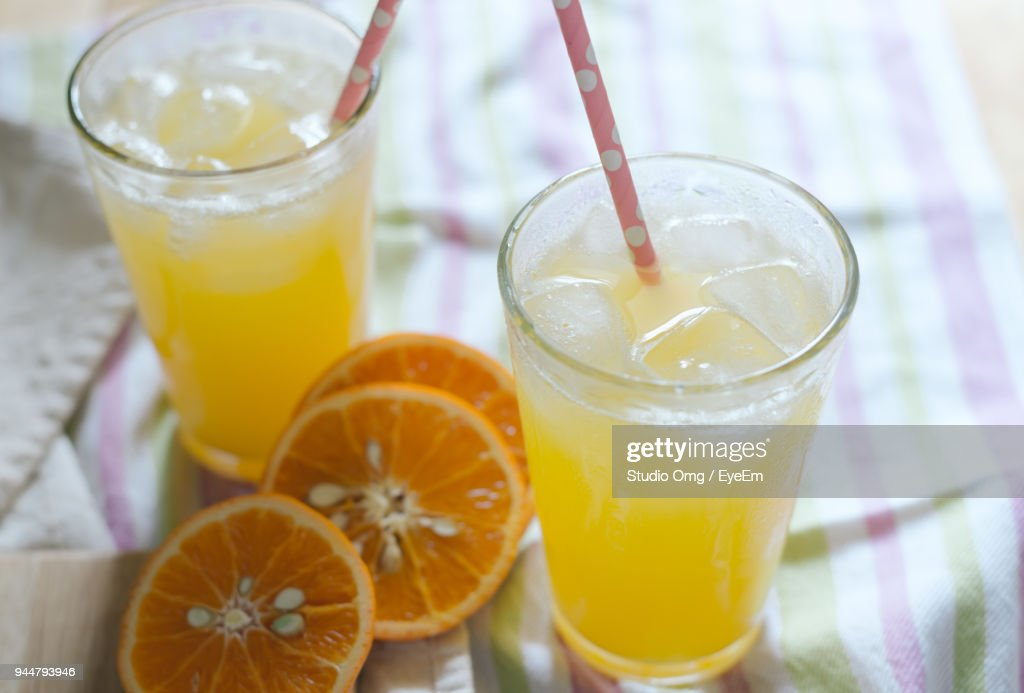 Close-Up Of Drinks Served On Table : Stock Photo