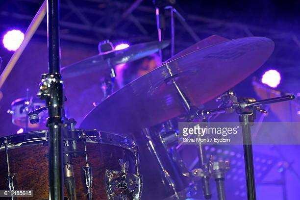 Close-Up Of Drum Kit At Music Concert