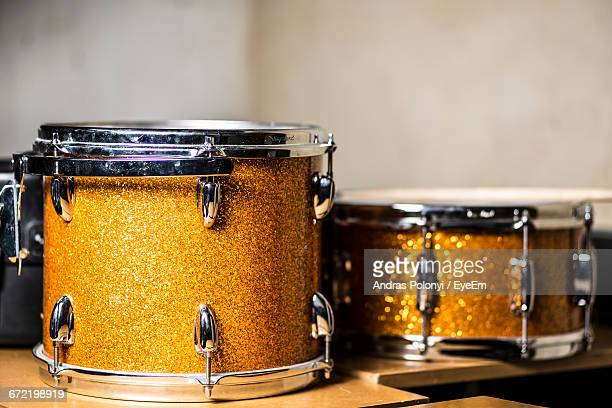 close-up of drums on table in recording studio - musical equipment stock pictures, royalty-free photos & images