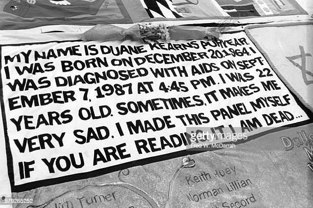 Closeup of Duane Kearns Puryear's panel on the NAMES Project AIDS Memorial Quilt October 10 1992 The quilt consists of numerous panels constructed in...