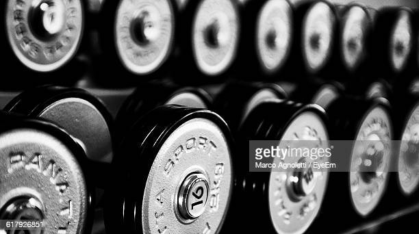 Close-Up Of Dumbbells At Gym