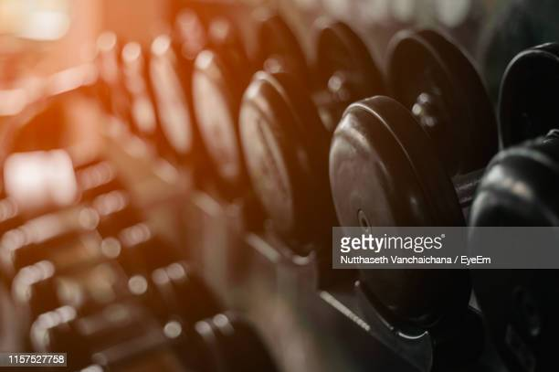 close-up of dumbbells on shelf in gym - weights stock pictures, royalty-free photos & images
