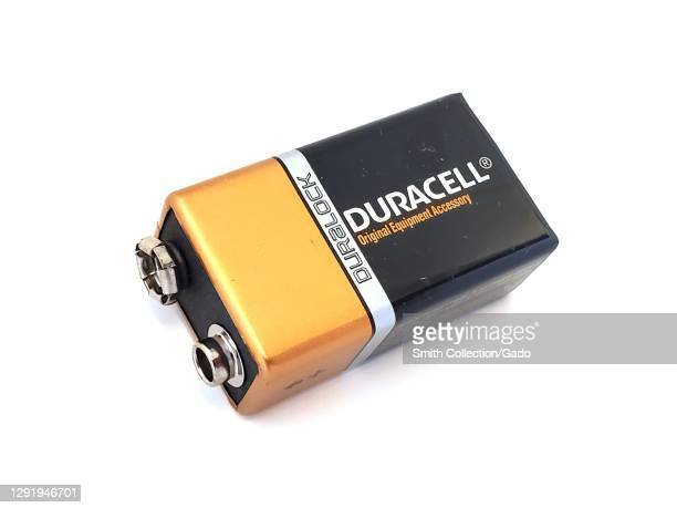 Close-up of Duracell brand 9 volt battery isolated on white background, San Ramon, California, November 6, 2020.