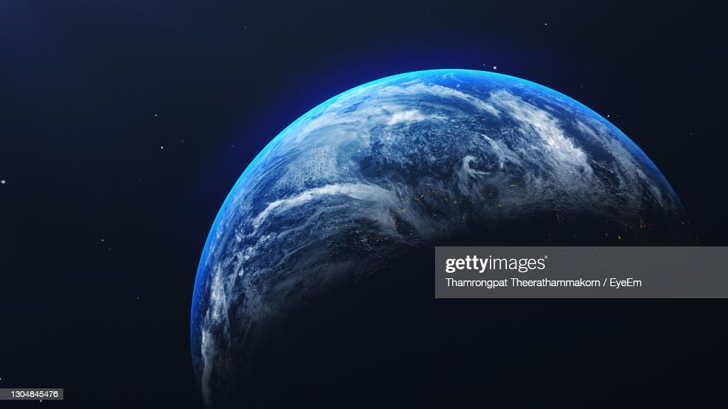 Close-Up Of Earth Against Blue Sky At Night : Stock-Foto