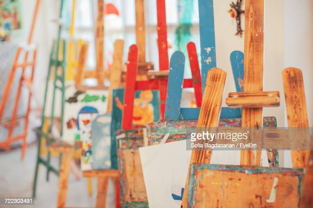 close-up of easels in studio - art studio stock pictures, royalty-free photos & images
