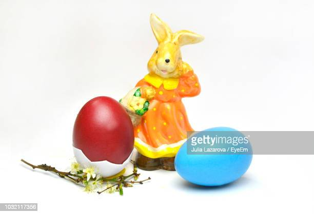 Close-Up Of Easter Eggs Against White Background