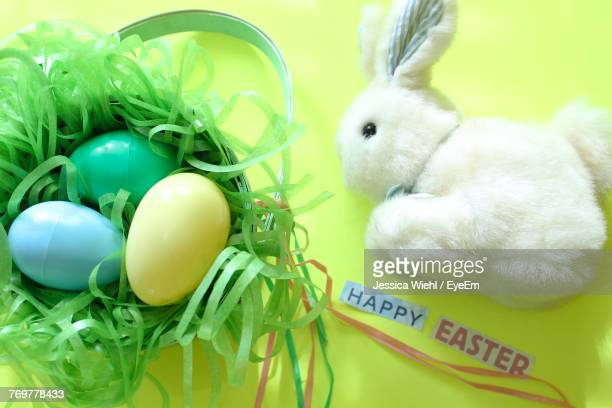 Close-Up Of Easter Eggs And Bunny