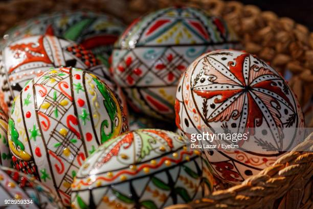 Close-Up Of Easter Eggs In Basket