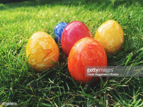 close-up of easter eggs in the grass - easter sunday stock pictures, royalty-free photos & images