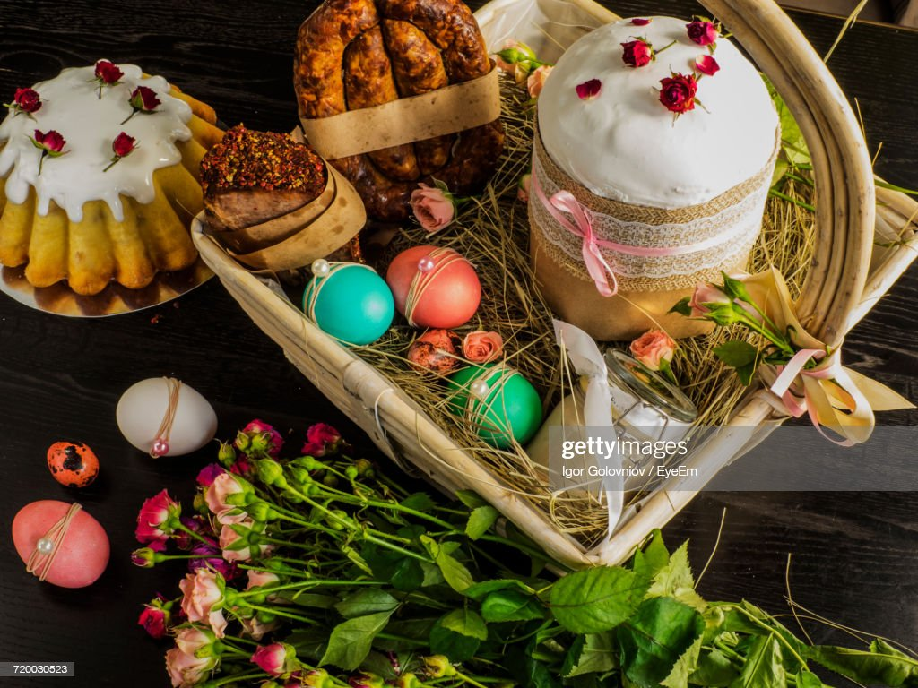 Close-Up Of Easter Food And Decoration : Stock Photo