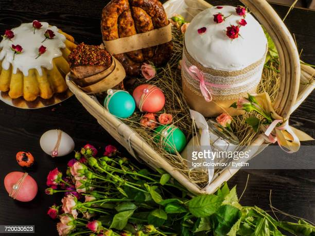 close-up of easter food and decoration - igor golovniov stock pictures, royalty-free photos & images