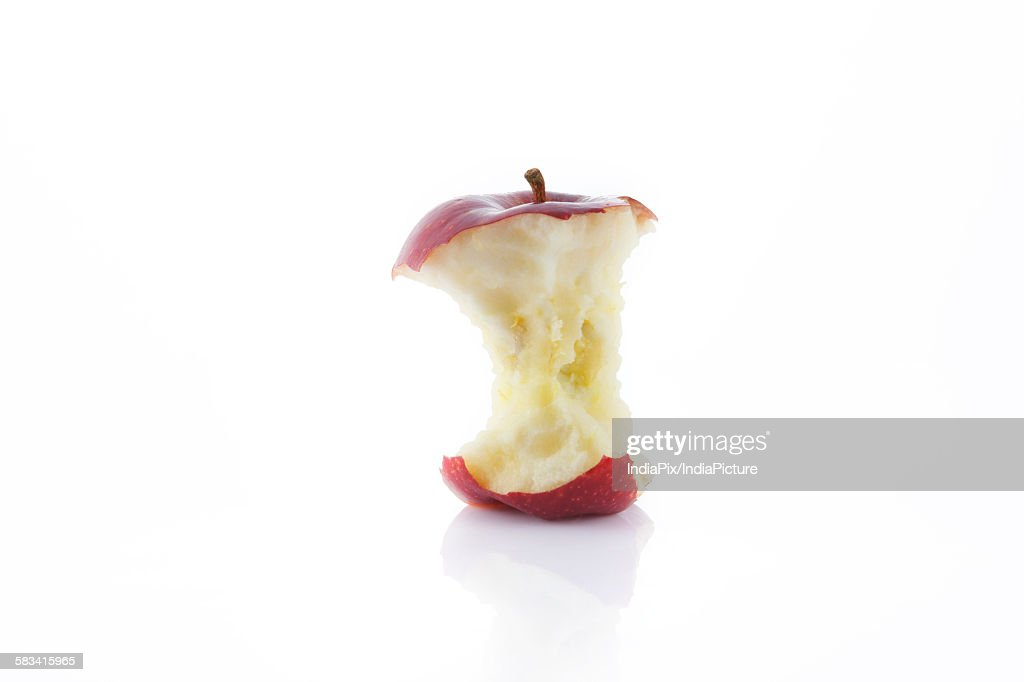 Close-up of eaten red apple : Stock Photo