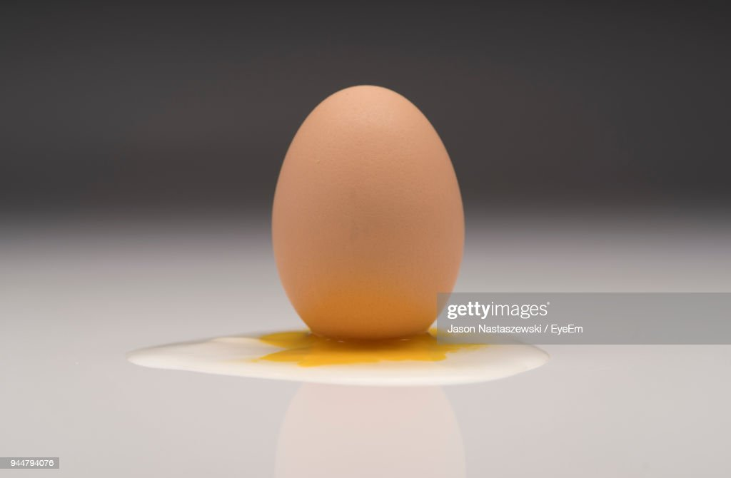 Close-Up Of Egg On Table : Stock Photo