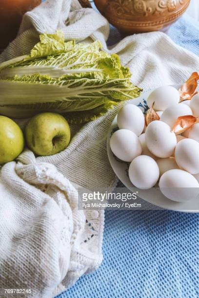 Close-Up Of Eggs With Fruits And Vegetable