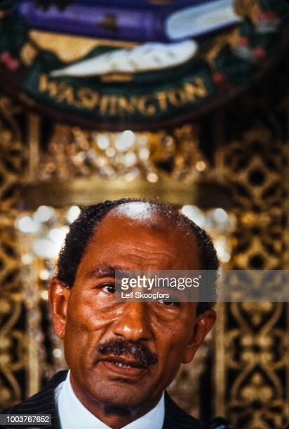 Closeup of Egyptian President Anwar Sadat as he delivers a speech at the National Press Club Washington DC February 6 1978