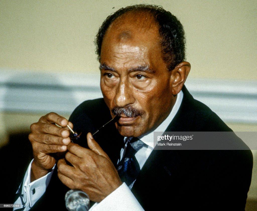 President Sadat In Blair House : News Photo