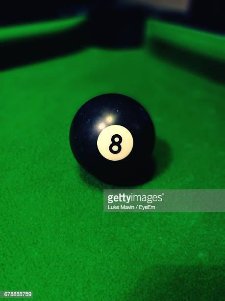 Close-up Of Eight Ball On Pool Table