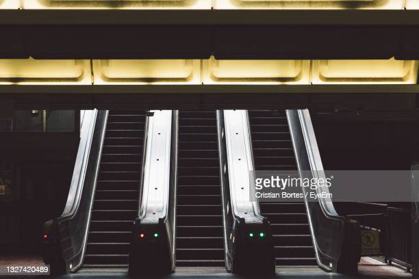 close-up of electric escalators in a subway station - bortes stock pictures, royalty-free photos & images