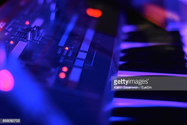 Close-Up Of Electric Piano At Nightclub