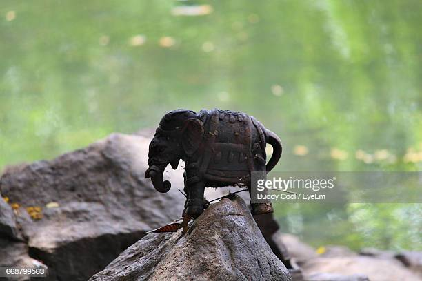 Close-Up Of Elephant Toy On Rock Against Pond