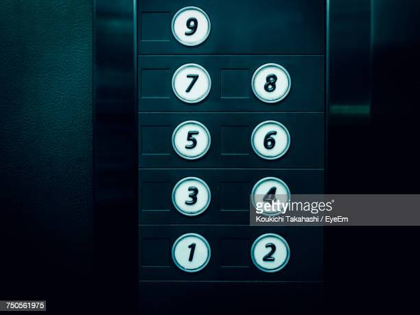 close-up of elevator buttons - button stock pictures, royalty-free photos & images