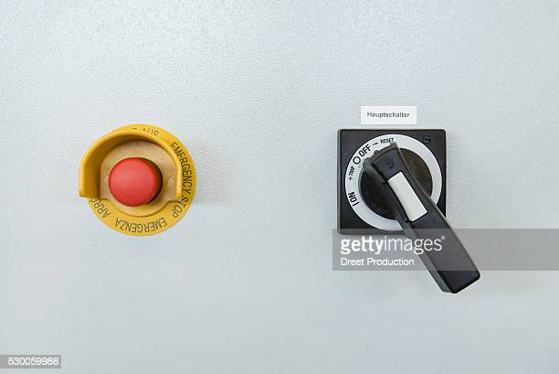 Close-up of emergency alarm with ON and OFF switch, Munich, Bavaria, Germany