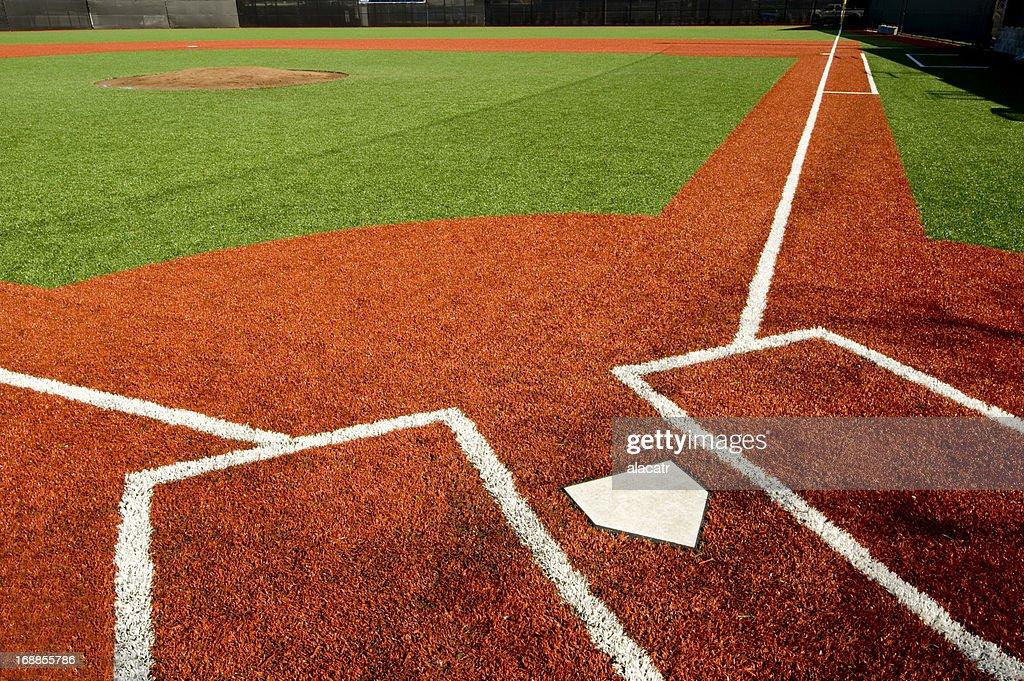 Closeup of empty baseball field : Stock Photo