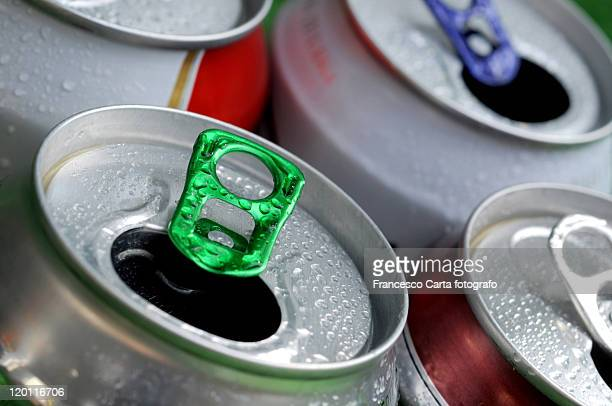 Closeup of empty beer cans