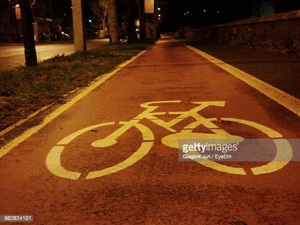 Close-Up Of Empty Bicycle Lane